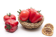 Tomato and paprikas with lemon Royalty Free Stock Photography
