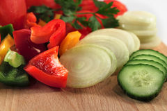 Tomato, paprikas, and onion pieces Royalty Free Stock Photos