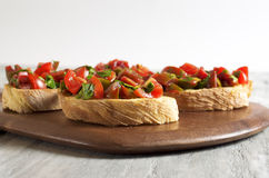 Tomato and parsley bruschetta. Food & Dishes for Restaurants, Cuisine of the peoples of the world, Healthy Recipes Stock Photos