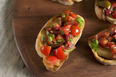 Tomato and parsley bruschetta. Food & Dishes for Restaurants, Cuisine of the peoples of the world, Healthy Recipes Royalty Free Stock Photography