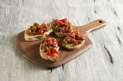Tomato and parsley bruschetta. Food & Dishes for Restaurants, Cuisine of the peoples of the world, Healthy Recipes Royalty Free Stock Photos