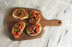 Tomato and parsley bruschetta. Food & Dishes for Restaurants, Cuisine of the peoples of the world, Healthy Recipes Stock Image