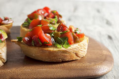 Tomato and parsley bruschetta Royalty Free Stock Photography