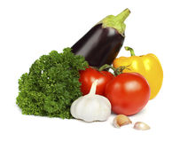 Tomato, parsley, garlic, pepper and eggplant Stock Image