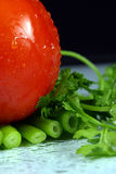 Tomato, parsley and spring onion. On black background Stock Photos