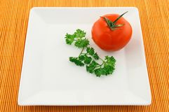 Tomato and parsley on a square plate Royalty Free Stock Photos