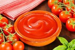 Tomato passata. Bowl of smooth tomato puree Royalty Free Stock Images
