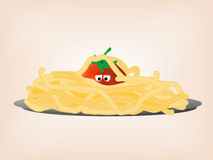 Tomato in pasta. Vector illustration of tomato in plate with pasta. EPS file included Royalty Free Stock Photography