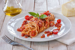 Tomato pasta with basil Stock Images