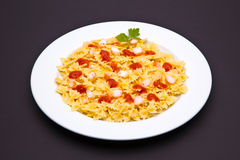 Tomato pasta dish. On white background stock images