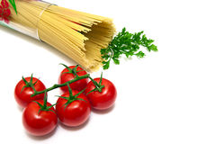 Tomato and pasta in glass. A glass which are pasta and tomato on top Royalty Free Stock Photo