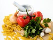 Tomato pasta ingredients Royalty Free Stock Images