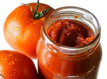 Tomato paste. Food ingredients - tomato paste jar stock photography