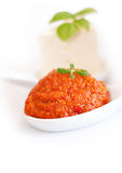 Tomato paste and basil Stock Photo