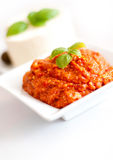 Tomato paste and basil Stock Image