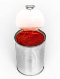 Tomato paste. Canned tomato paste on white Royalty Free Stock Photography