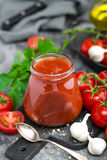 Tomato paste and fresh tomatoes, tomatos puree Royalty Free Stock Image