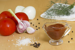 Tomato paste. Ingredients for preparation of ketchup Stock Photo