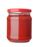 Tomato paste. Jar isolated on white Royalty Free Stock Photos