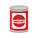 Tomato paste tin can. Canned food with tomatoes royalty free illustration