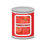 Tomato paste tin can. Canned food with tomatoes Royalty Free Stock Photography