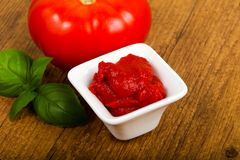 Tomato paste. With basil leaves Stock Image