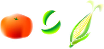Tomato, pea, corn. Illustration, vector for a variety of vegetables, tomato, pea, corn Royalty Free Stock Photography