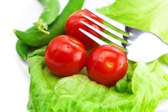Tomato,peas and lettuce Stock Image