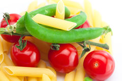 Tomato, peas and pasta Royalty Free Stock Photography