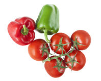 Tomato and pepper. Fresh tomato and pepper isolated on white royalty free stock photo