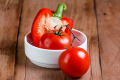 Tomato with pepper bell Stock Images