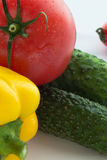 Tomato, pepper and cucumber closeup Royalty Free Stock Image