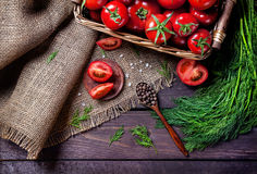 Tomato, pepper and herbs Royalty Free Stock Image