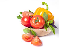 Tomato, pepper, red and green basil Royalty Free Stock Images