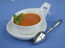 Tomato pepper  soup served in nice pot Royalty Free Stock Images