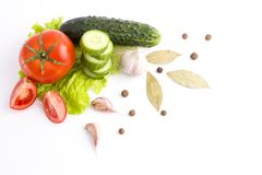 Fresh vegetables on a white background. Composition from vegetab Stock Photos