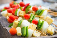 Tomato pineapple and bell pepper stick for barbecue Stock Image