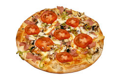 Tomato Pizza. Delicious Italian Pizza made with secret pizza ingredients Royalty Free Stock Photo