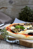 Tomato pizza with eggplant and mozzarella. Italian food Stock Image