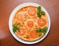 Tomato pizza    isolated Royalty Free Stock Photos