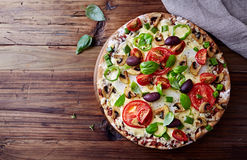 Tomato Pizza with Mushrooms and Olives Royalty Free Stock Photo