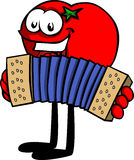 Tomato playing accordion Stock Photography
