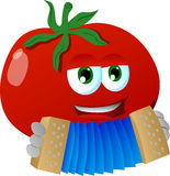 Tomato playing accordion Royalty Free Stock Photography