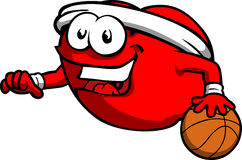 Tomato playing basketball Royalty Free Stock Images