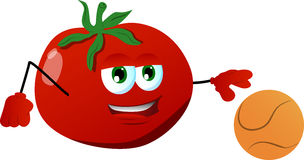 Tomato playing basketball Stock Images