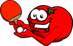 Tomato playing ping pong Stock Images