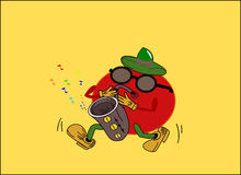 Tomato plays 2!. The image of the fruit that sounds, it could be conceptually valid and used for various purposes and performances Vector Illustration