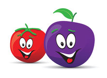 Tomato and plum faces Royalty Free Stock Images