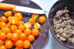 Tomato and pork. Tomatoes and minced pork for cooking Stock Photography