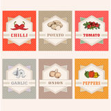 Tomato, potato, onion, chilly,. Vegetables set labels, garlic, peppers Royalty Free Stock Photography